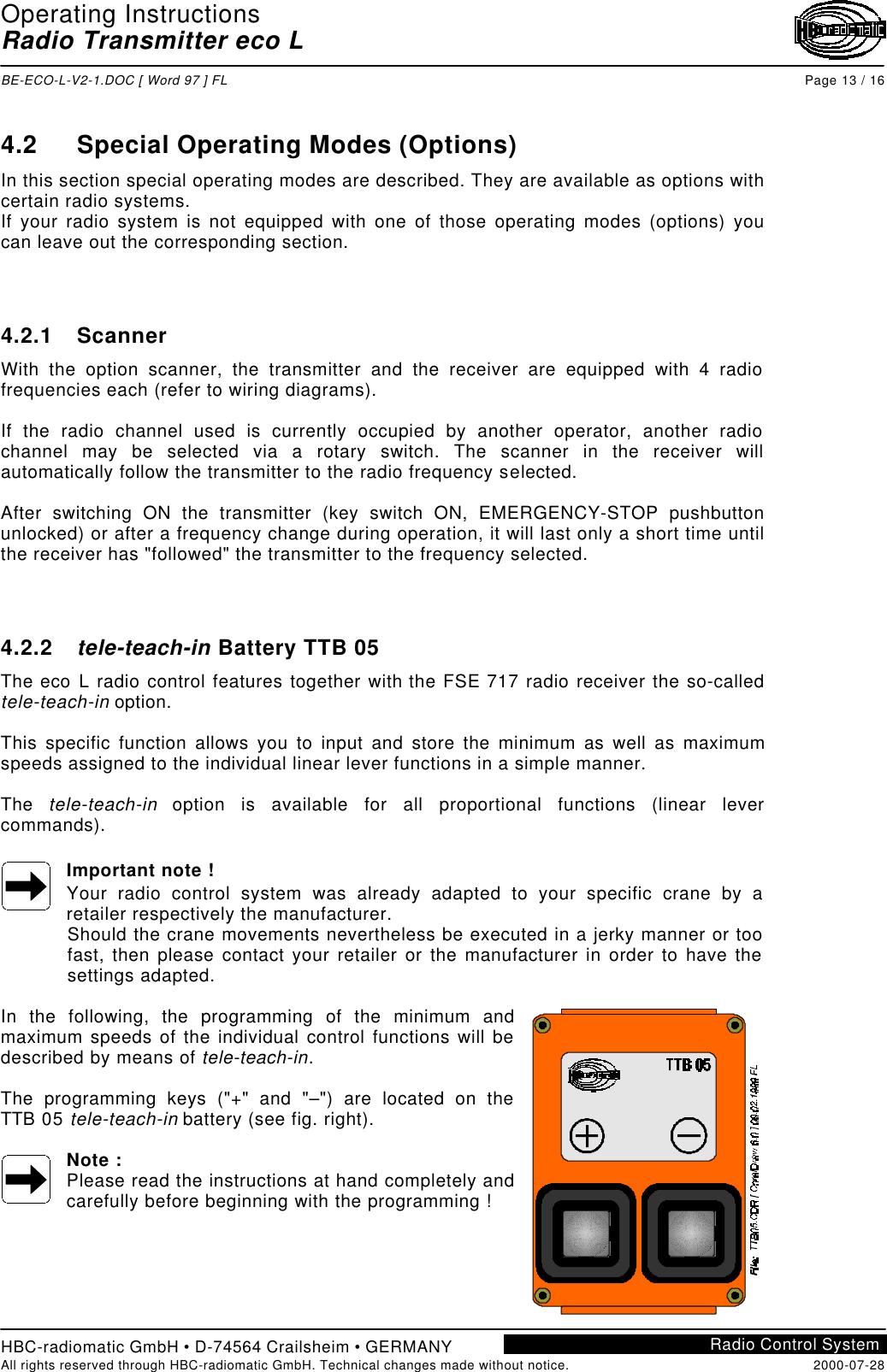 HBC radiomatic E20004 Crane Remote Control Transmitter User