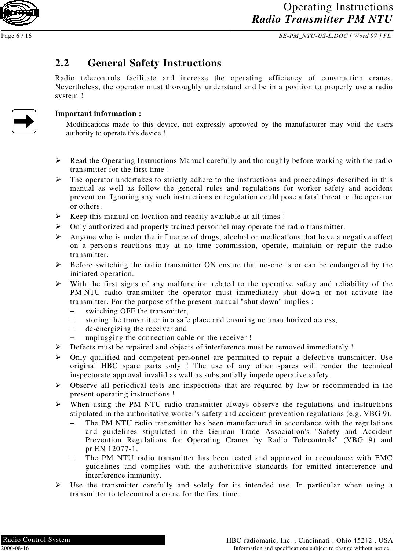 HBC radiomatic PMNTU4 Wireless Crane Control User Manual BE
