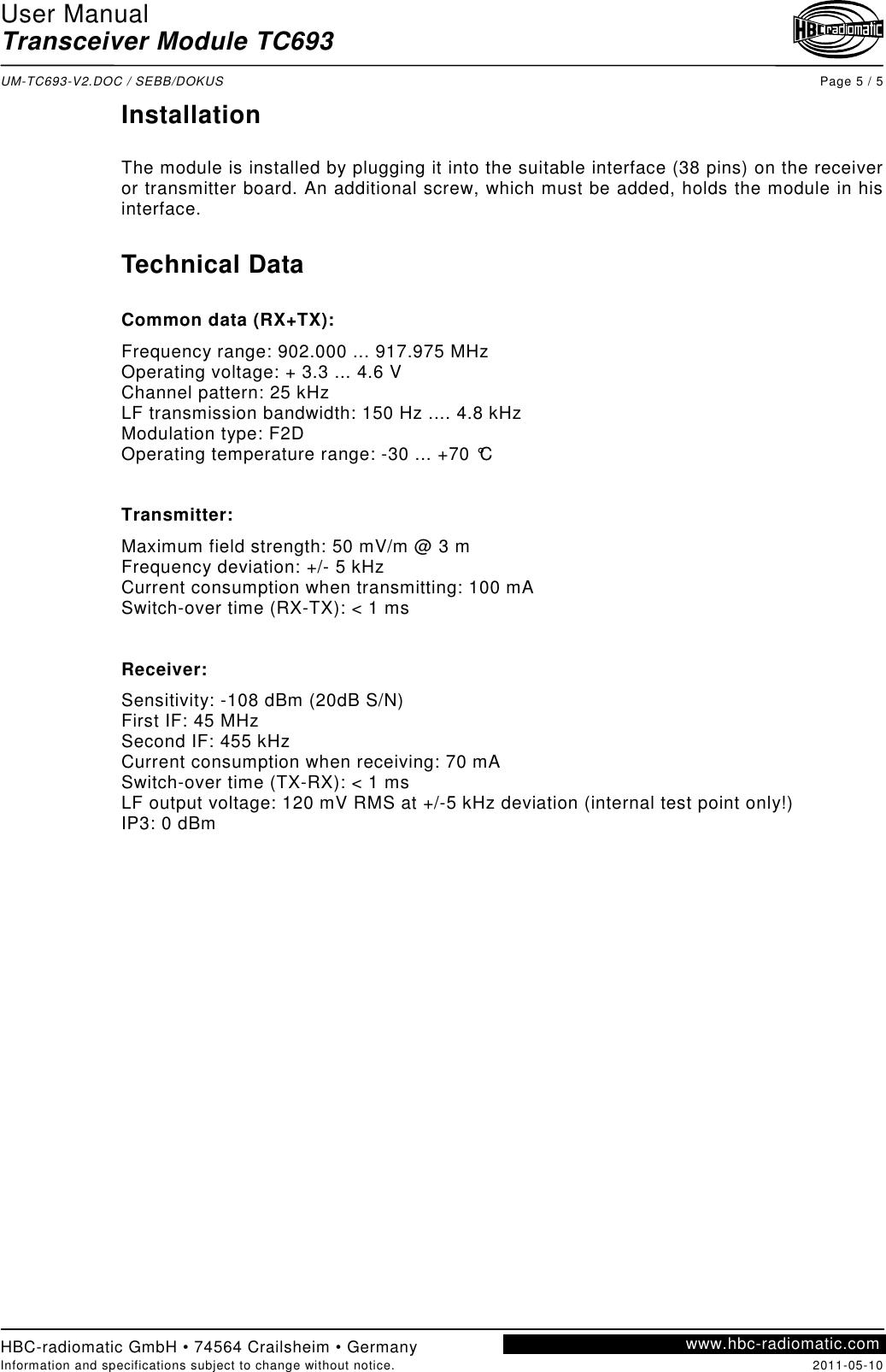 HBC radiomatic TC693 UHF transceiver for data transfer User Manual