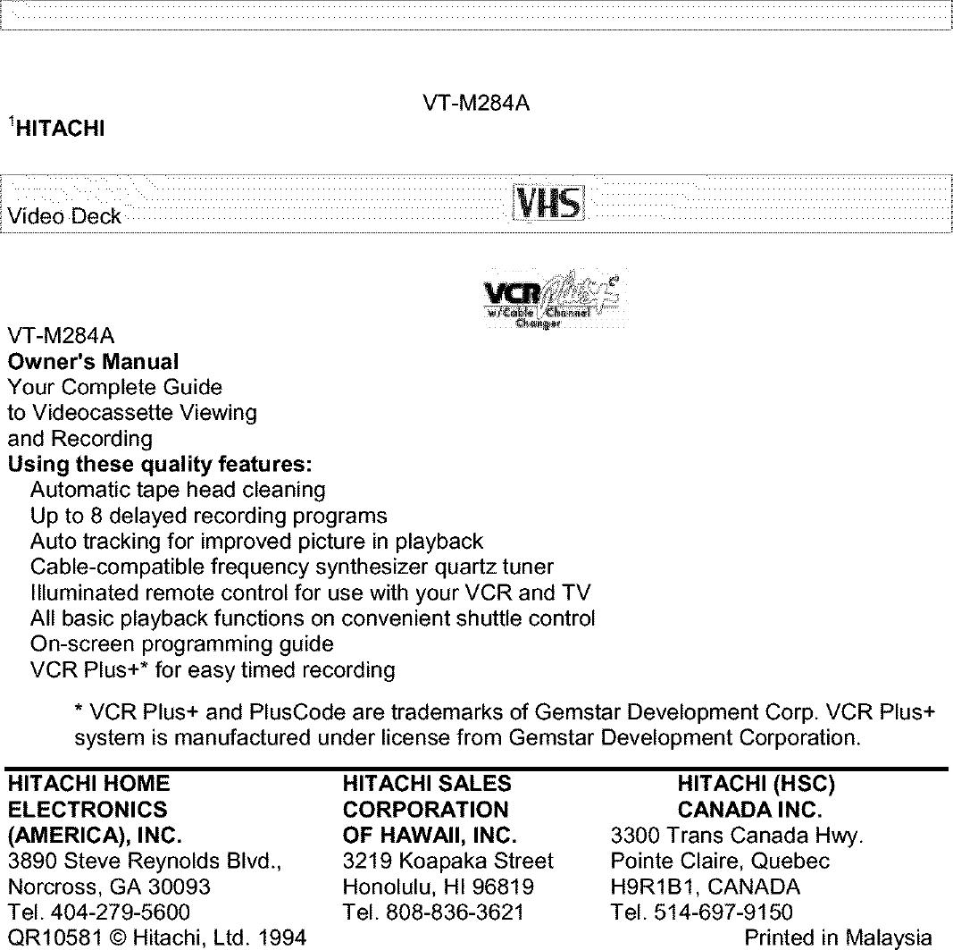 hitachi owner manual