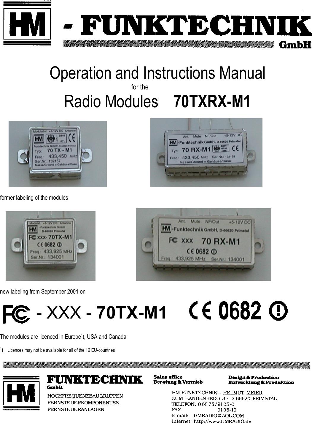 Hm Funktechnik 70tx M1 70tx M1 User Manual