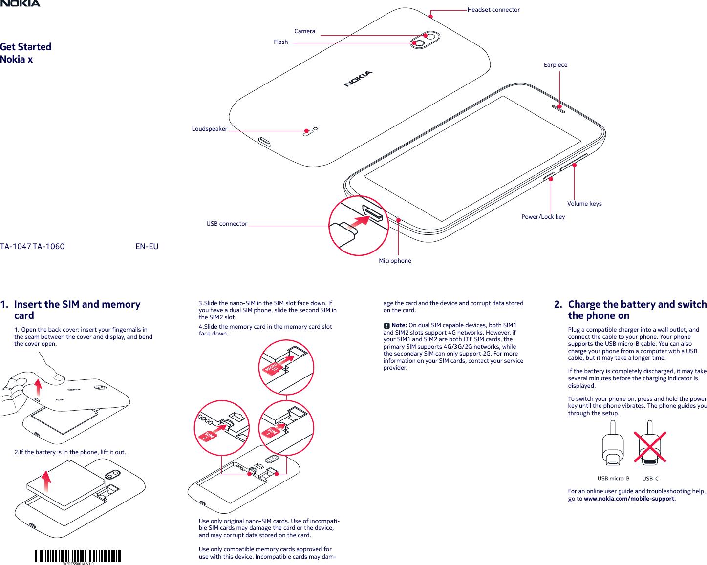Hmd Global Ta 1047 Gsm Wcdma Lte Mobile Phone User Manual En Eu Nokia X Circuit Diagram Pkfrt55001a Nokia1 Qg Issue1