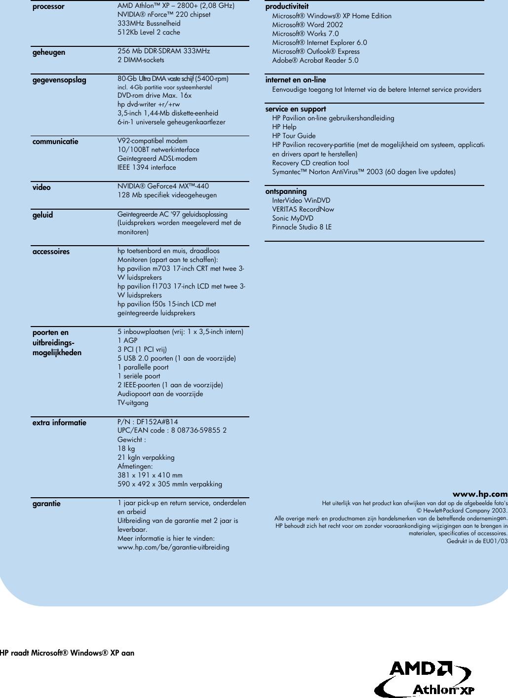 Page 2 of 2 - HP - T150.be_ds_nle Pavilion Desktop PC (Dutch)