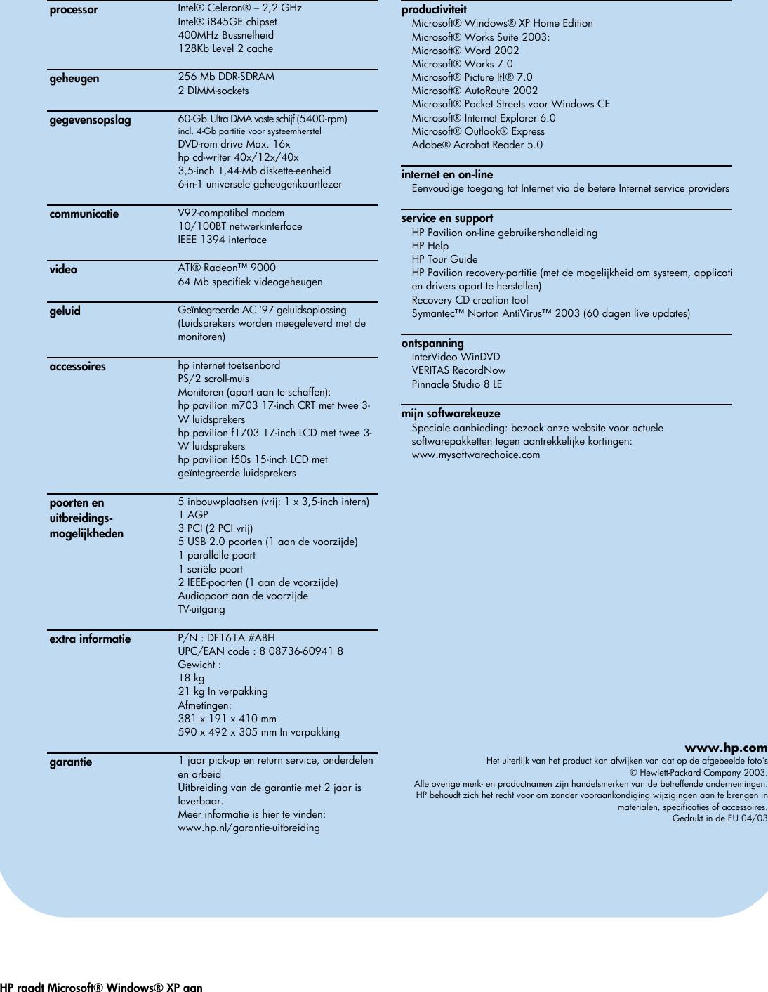 Page 2 of 2 - HP - 518320372 Pavilion Desktop PC (Dutch) T150.