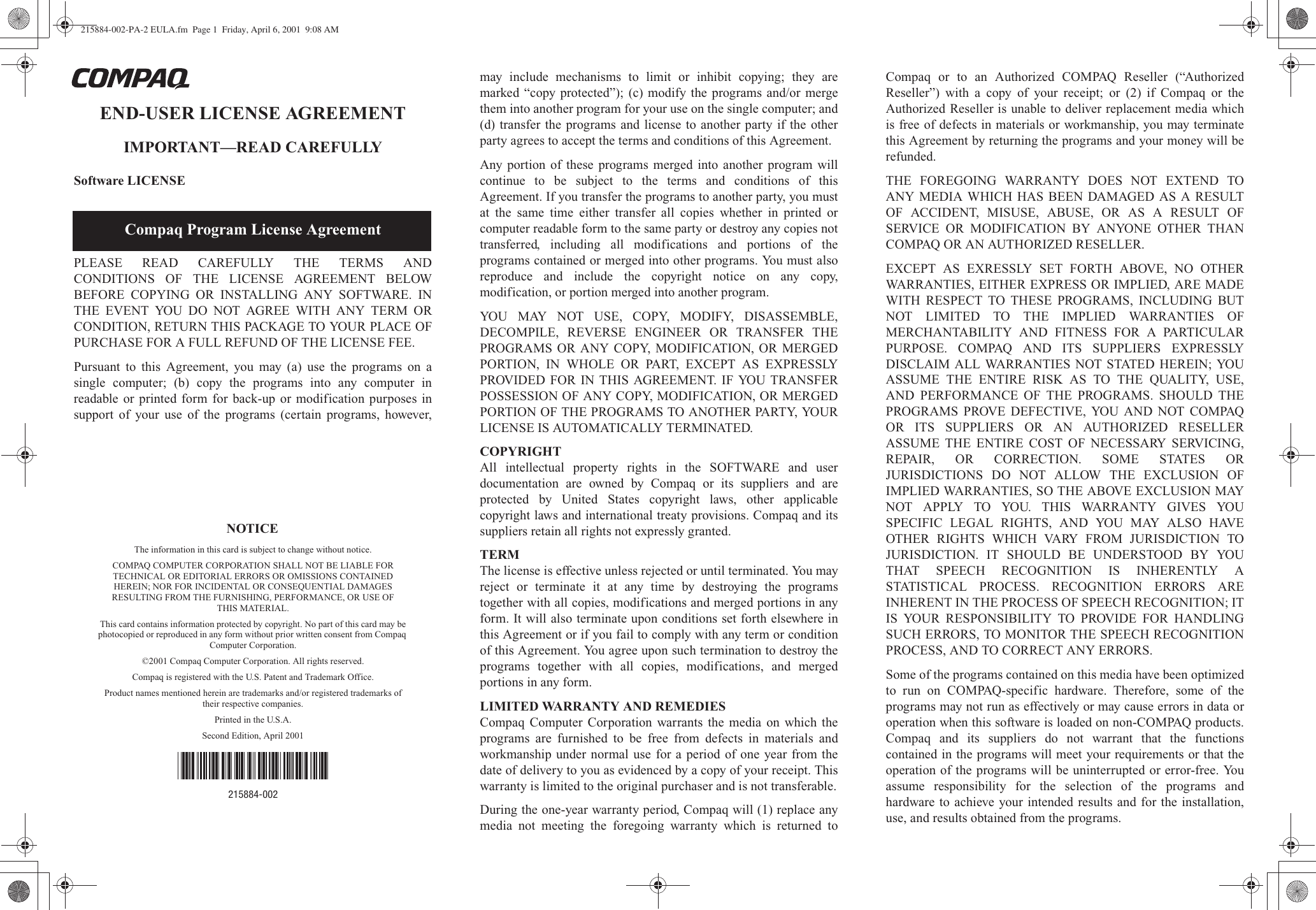 Hp 215884 002 Pa 2 Eula End User License Agreement Bpia0009