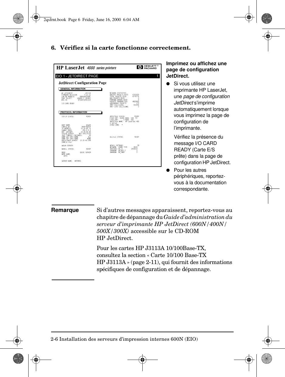 HP 2qsfrnt Serveurs D'impression Jet Direct Modles 600N (EIO ...