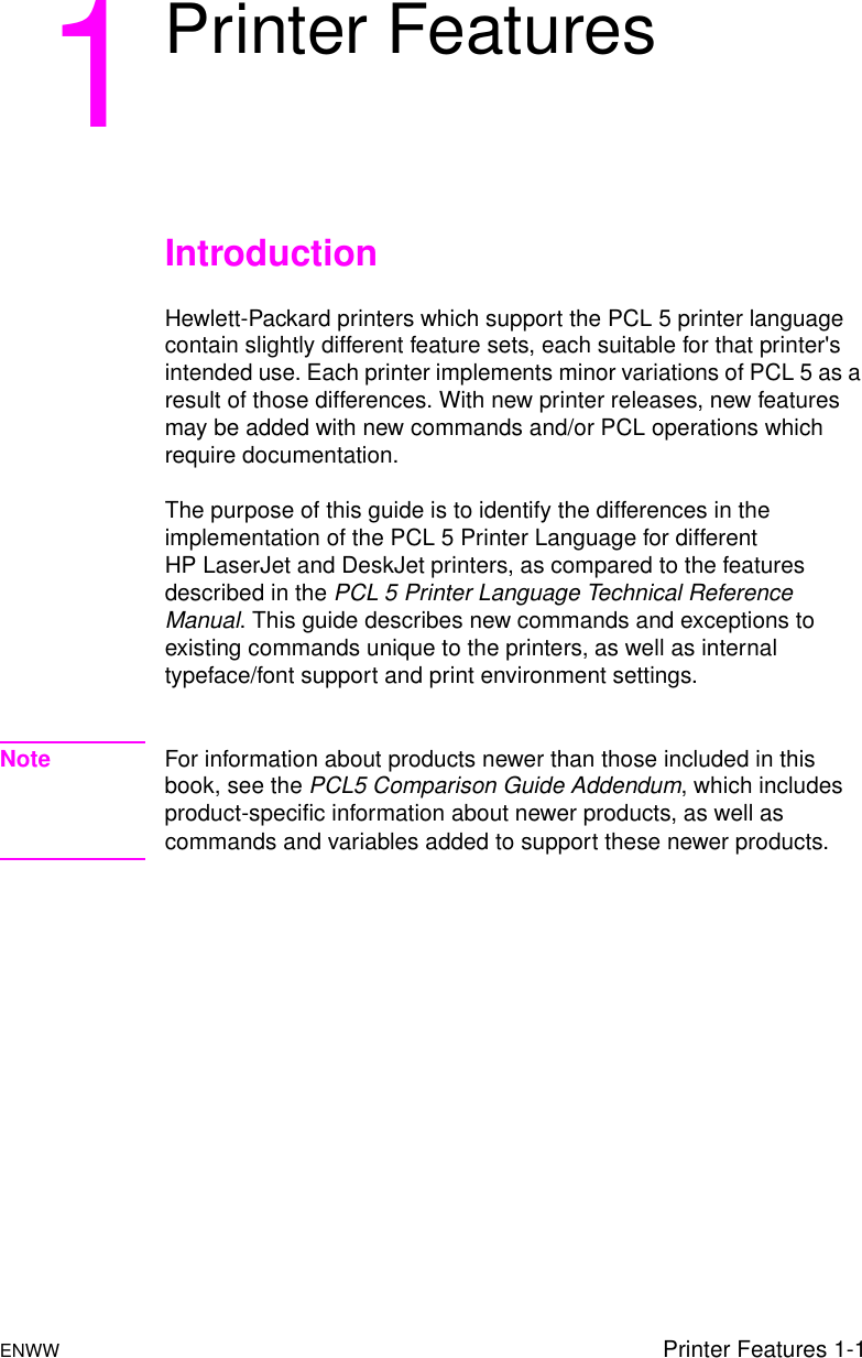 HP PCL 5 Comparison Guide ENWW PCL/PJL Reference Bpl13206