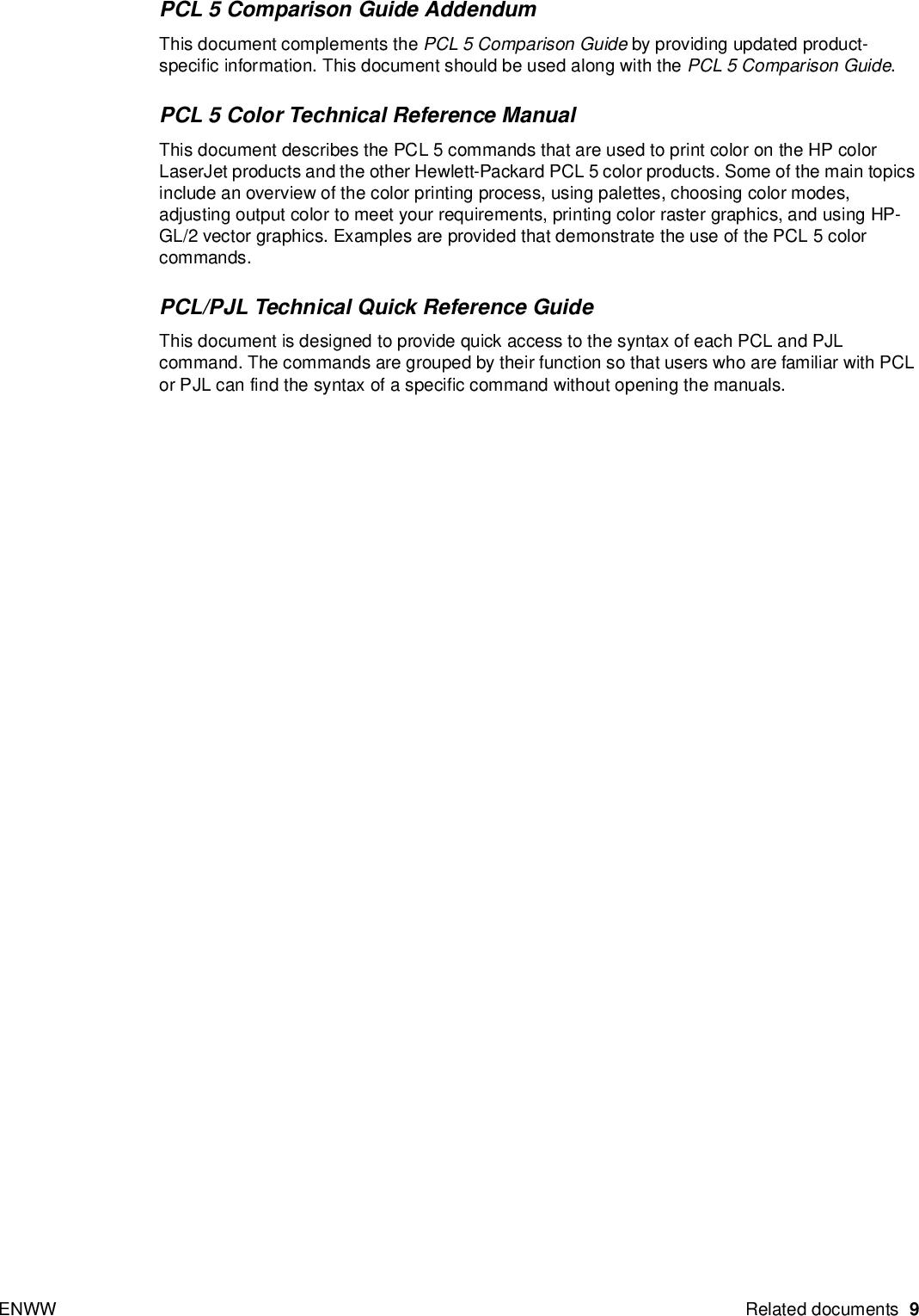 HP Printer Job Language Technical Reference Addendum ENWW