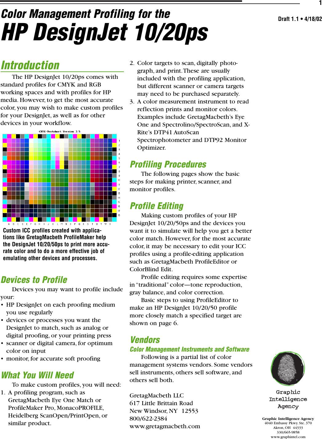 HP  HPProfiling Designjet 50ps Color Management Guide Bpp03751
