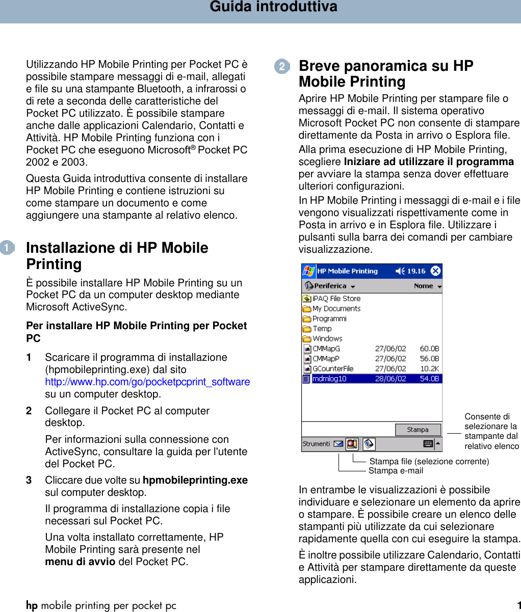 b9ea70269f HP Mobile Printing For Pocket Pc quick Start Guide ITWW (Italian) C00044869