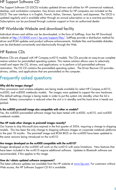 HP Compaq Nc Business Notebook Software Update Nc4010