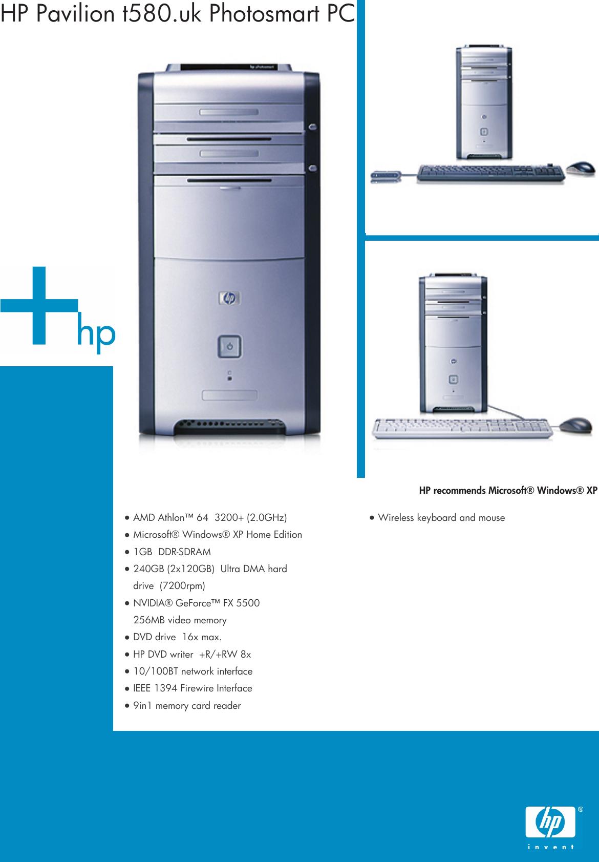 HP Summer Desktop Datasheet Pavilion PC T580 dk Product