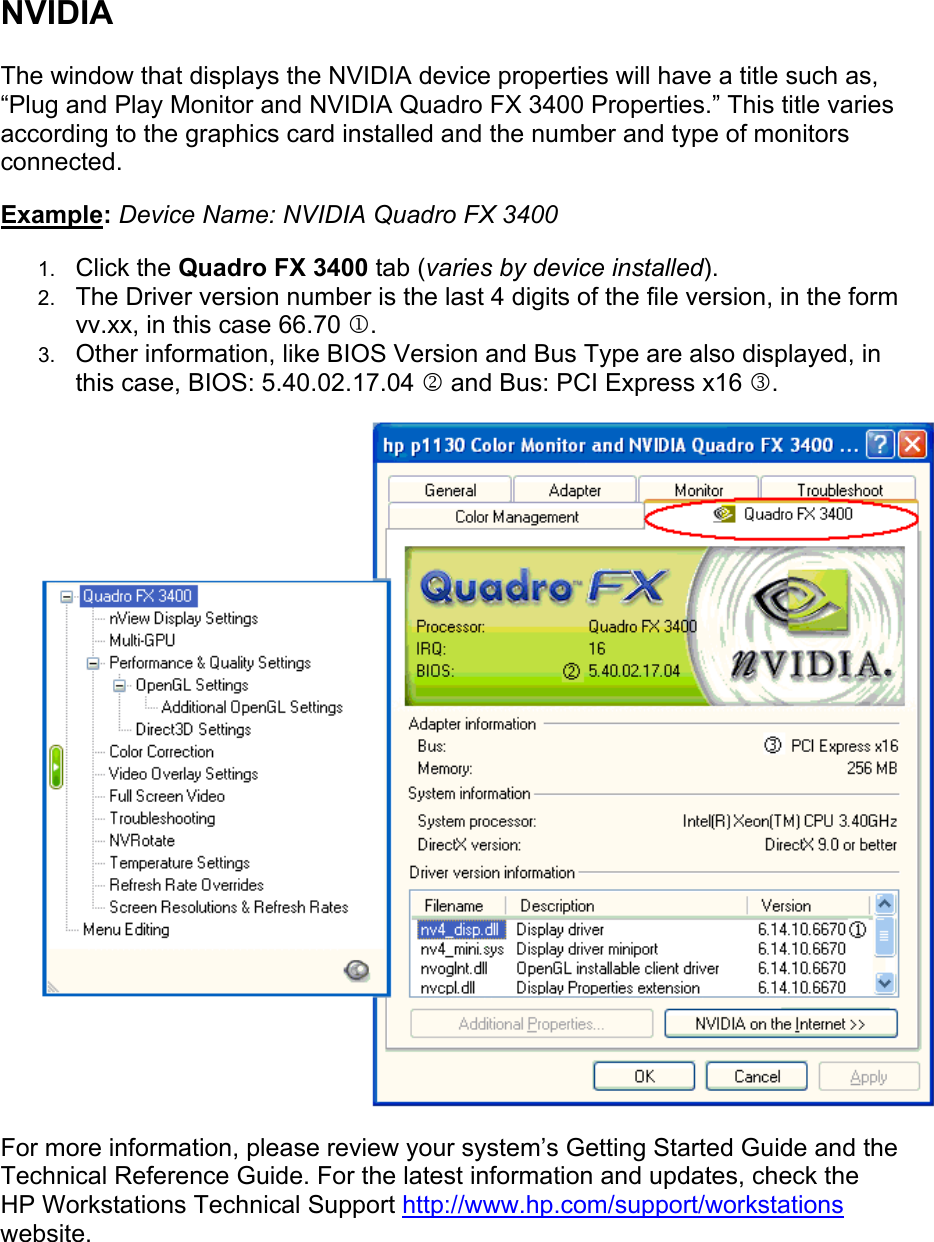 HP Finding Graphics Driver Information In Windows XP Workstations