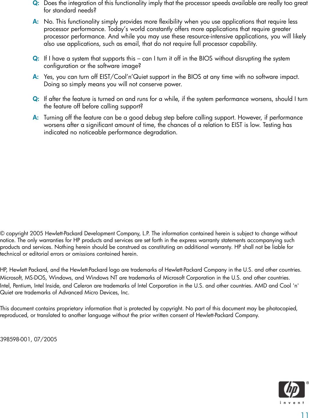 HP Runtime Power Management, V 1 0 C00465840