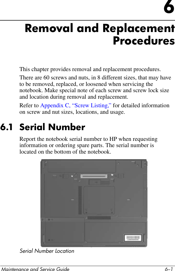 HP Maintenance And Service Guide Compaq Nx6115 Nx6125 Notebook PC