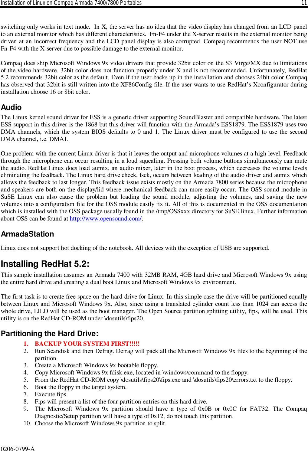 HP 0206 0799 A Installation Of Linux On Compaq Armada 7400