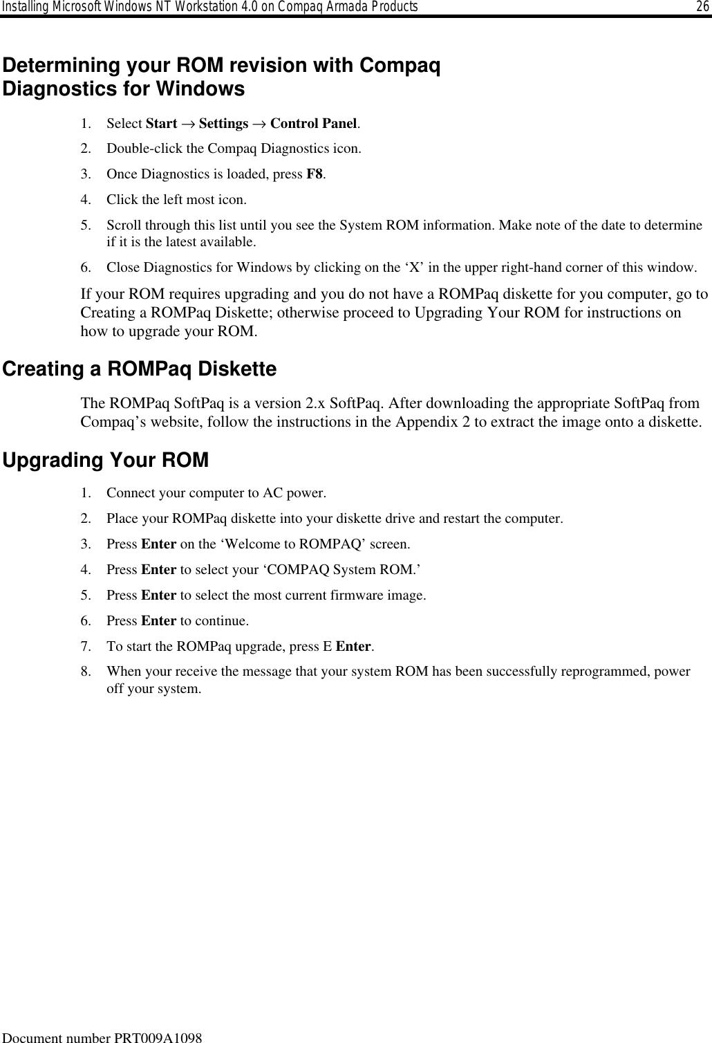HP PRT009A_1098 Installing Microsoft Windows NT Workstation