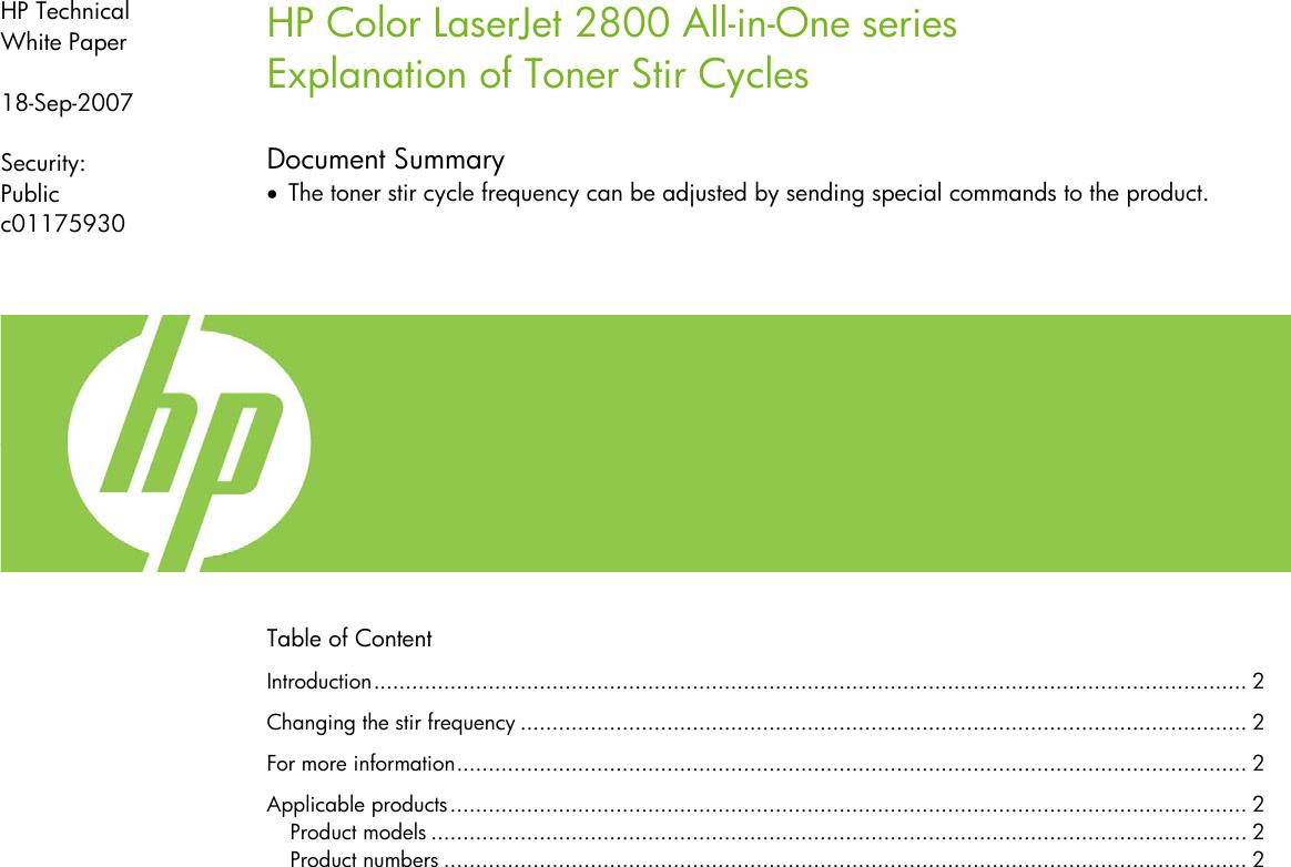 HP Color LaserJet 2800 All in One Series Explanation Of Toner Stir ...