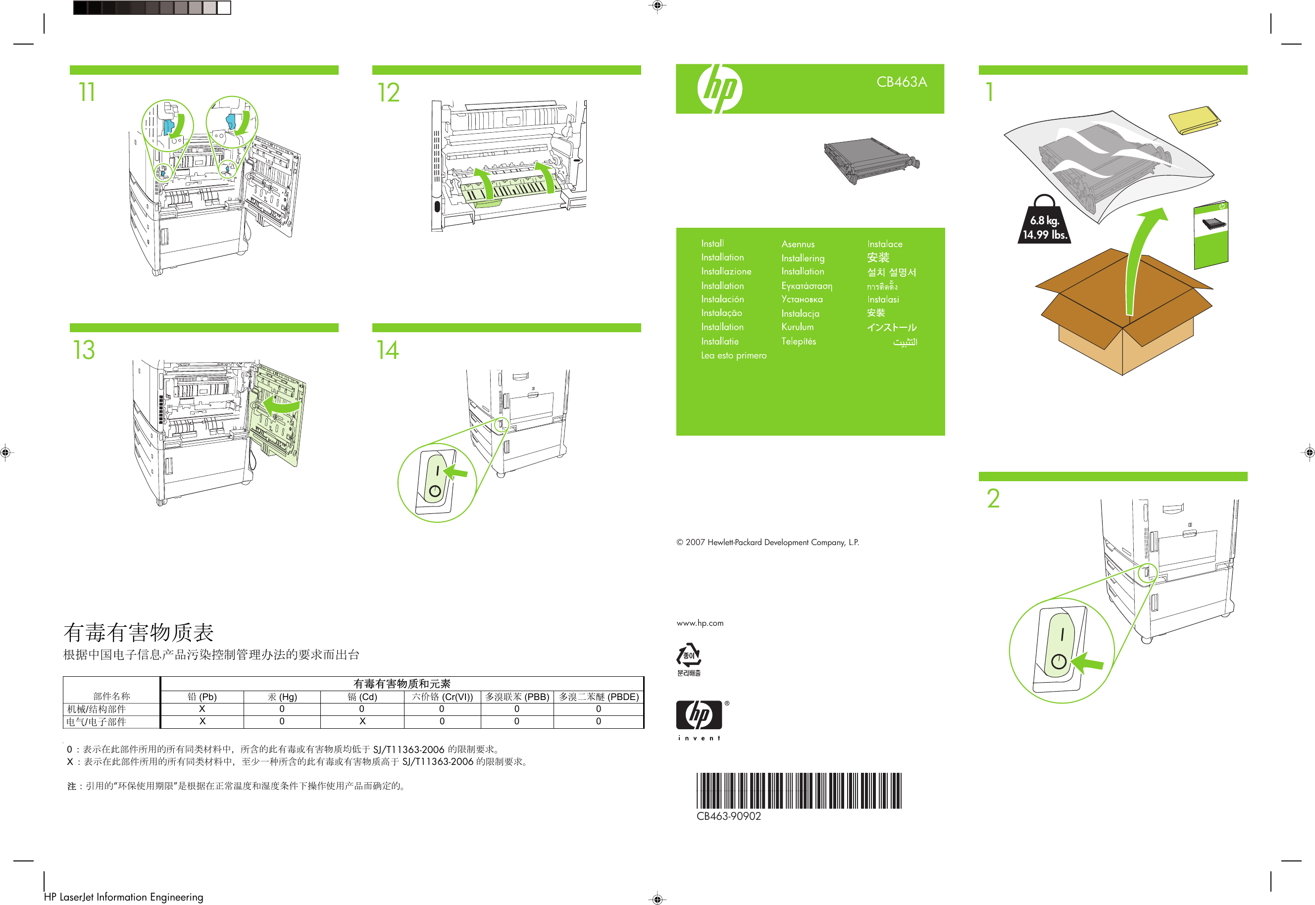 HP Transfer Kit Install Guide Xlww Color Laser Jet CP6015 And CM6040/CM6030  MFP (multiple Language) C01455433