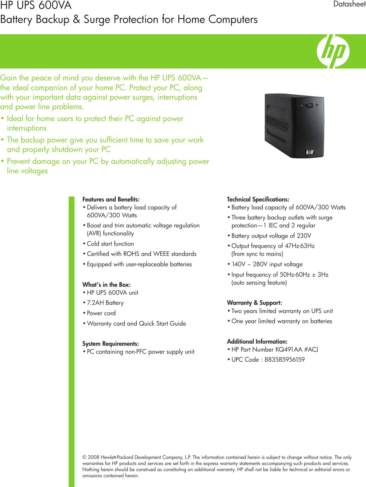 HP 3 800893_HP_UPS 600VA_DS 600VA Universal Power Supply
