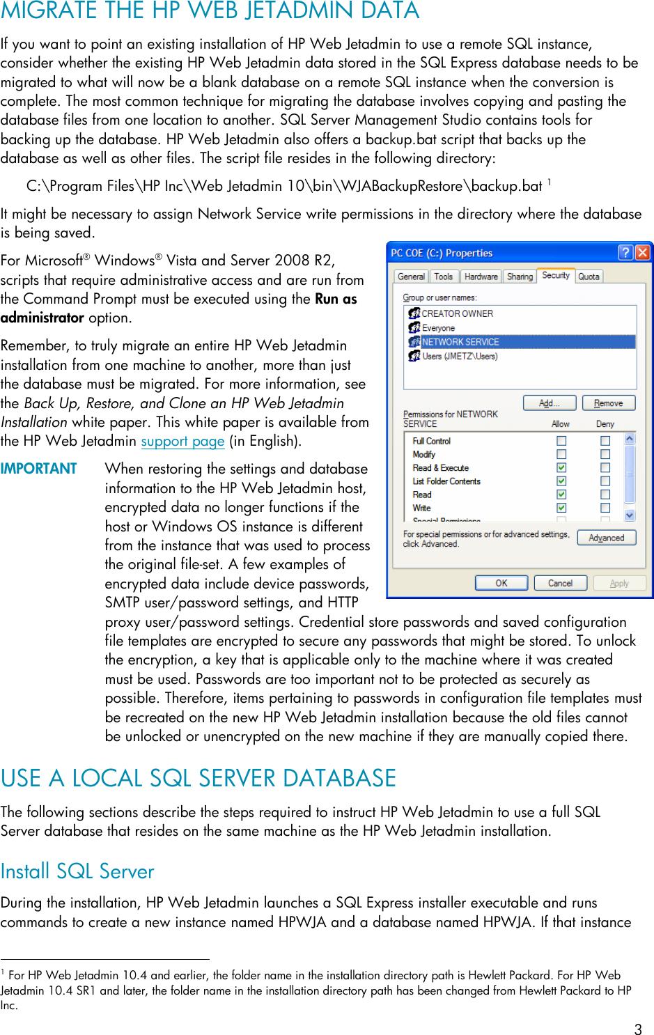 HP Using Microsoft SQL Server With Web Jetadmin ENWW C01763040