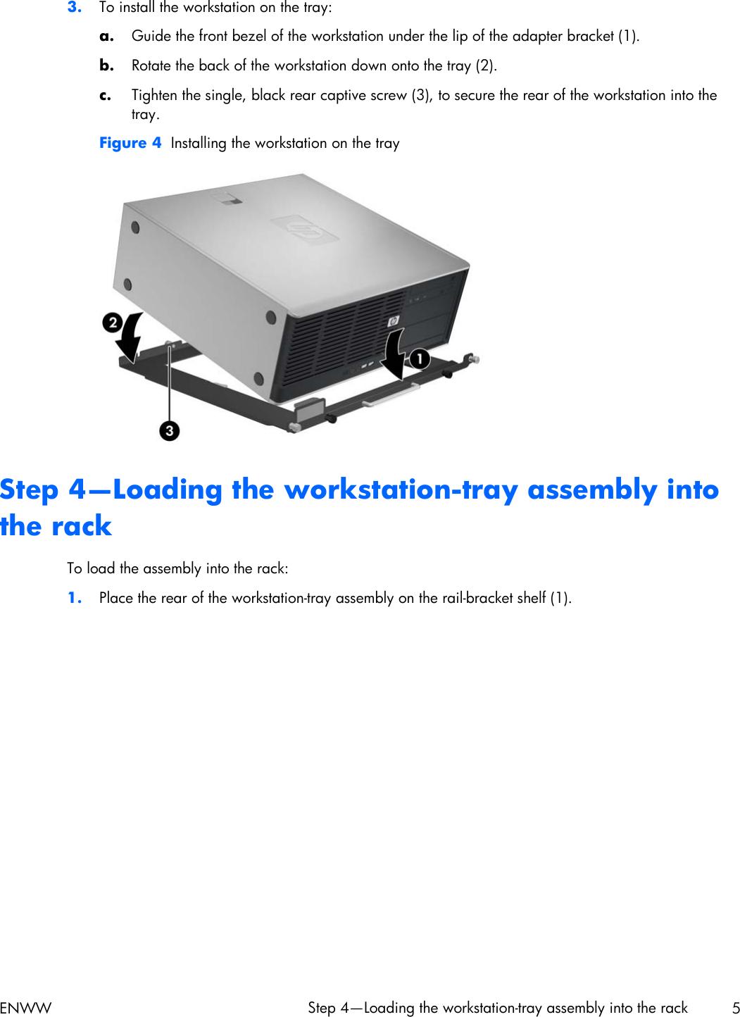 HP Z200, Z400 And Xw4000 Workstations Rack Mount Tray