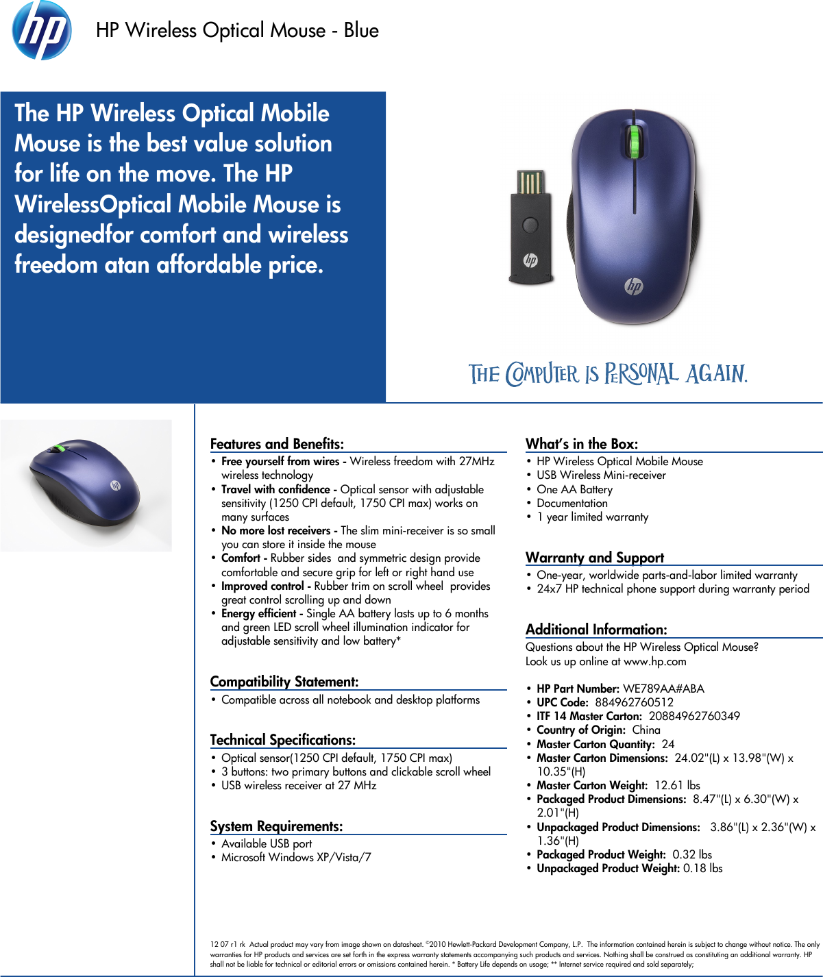 HP Pavilion Data Sheet Wireless Optical Mouse (Blue) Datasheet C02064083