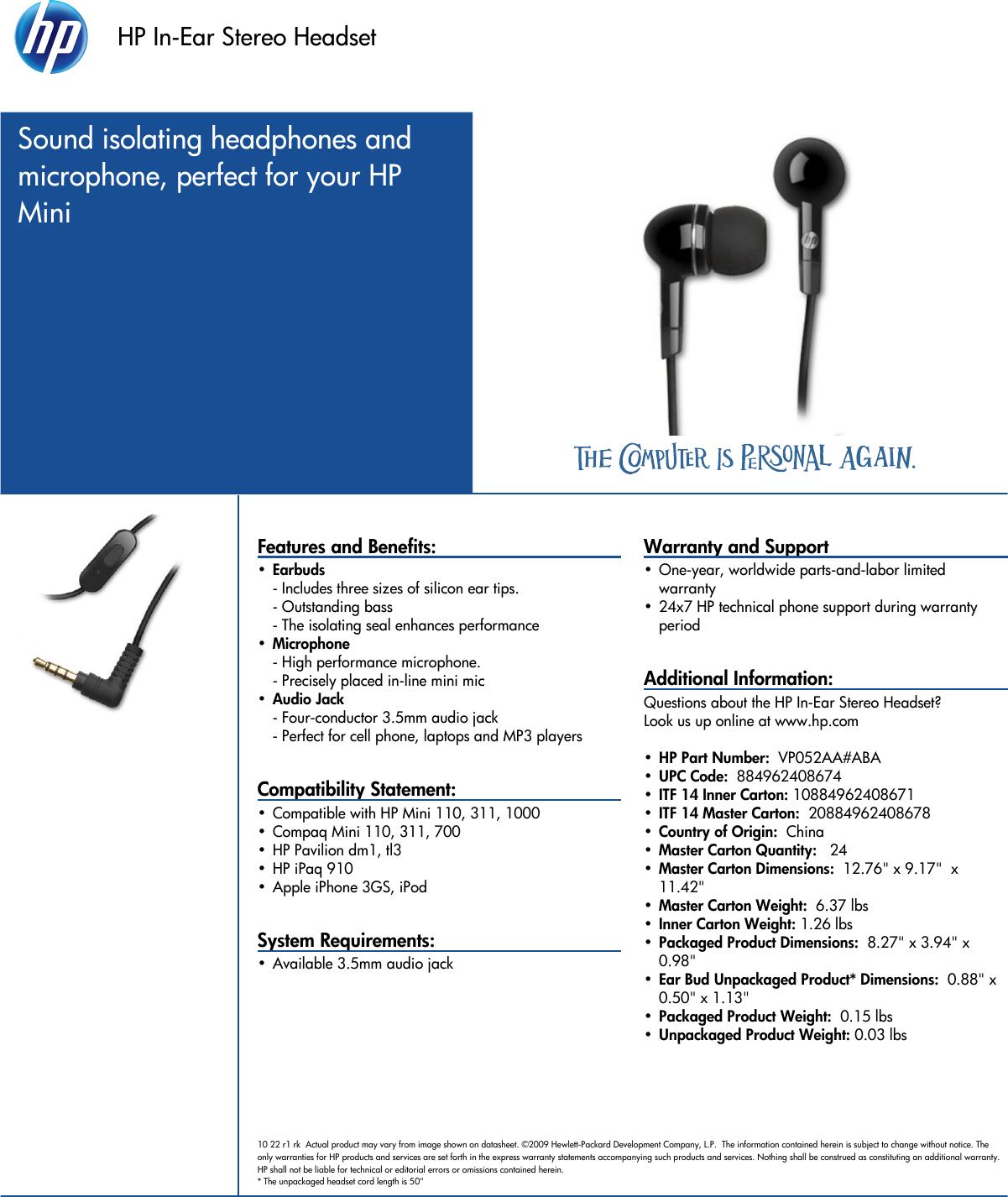 Hp Pavilion Data Sheet In Ear Stereo Headset Datasheet C02468527