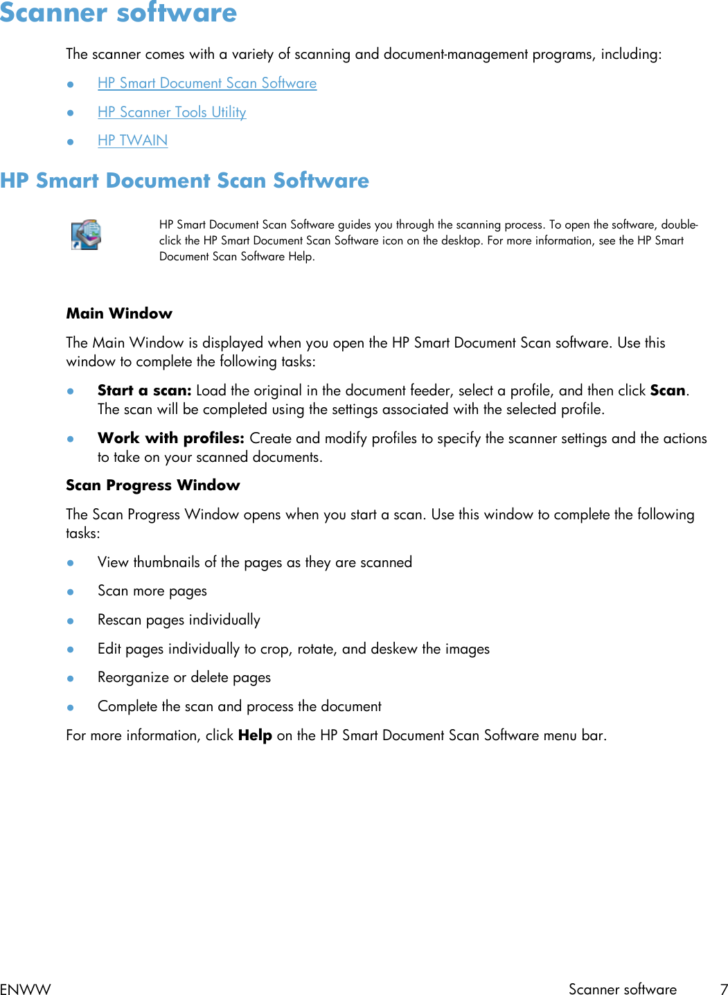 HP Scanjet Enterprise 7000 S2/Flow S2 User Guide ENWW C03144118