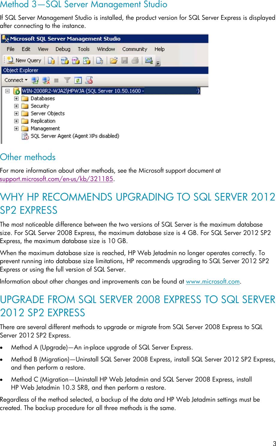 HP Upgrade Microsoft SQL Server Express For Web Jetadmin