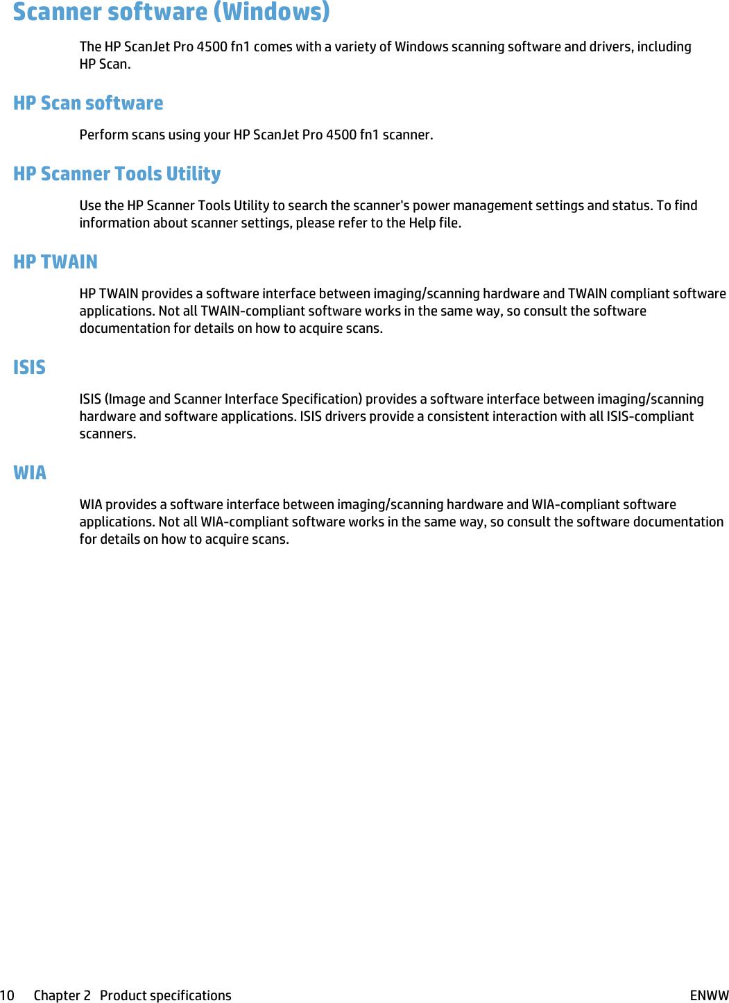 HP ScanJet Pro 4500 Fn1 Network Scanner User Guide ENWW
