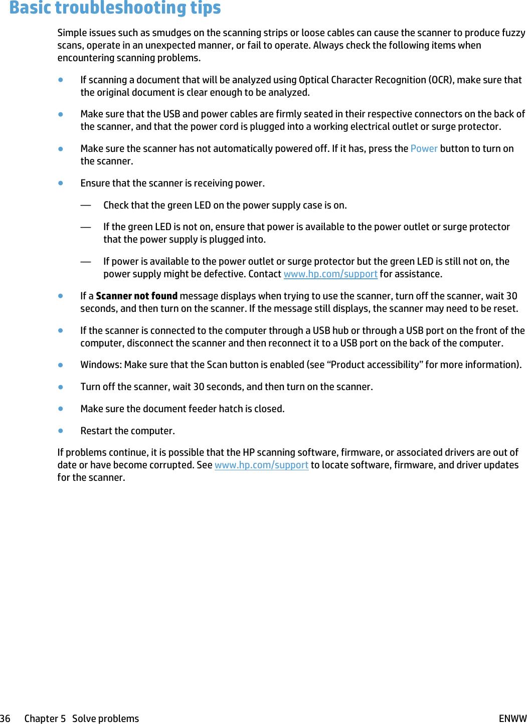 HP ScanJet Pro 4500 Fn1 Network Scanner User Guide ENWW C04894399