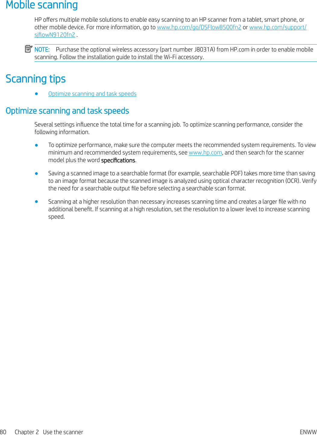 HP Digital Sender Flow 8500 Fn2 Capture Workstation, ScanJet