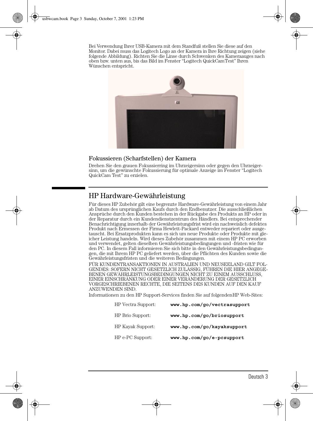 Hp Usbwcam Usb Pc Web Camera P1978a Installation Guide Lpv09346 Logitech Quickcam Wiring Diagram Page 7 Of 10