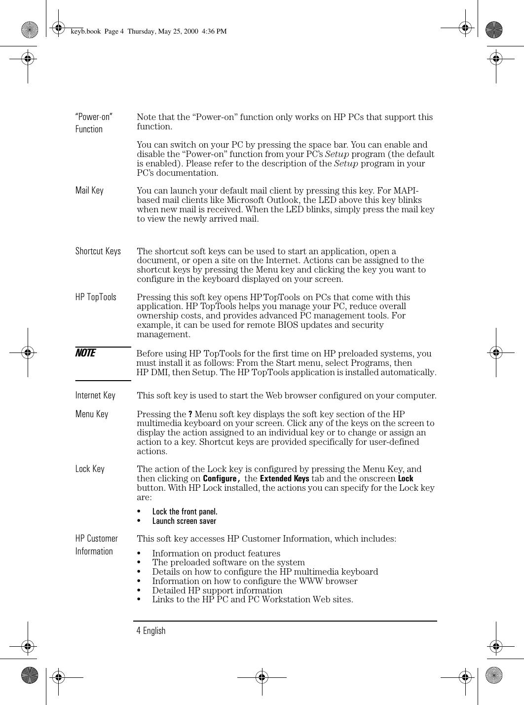 HP G Multimedia Keyboard (C4742B), User Guide Lpv09504