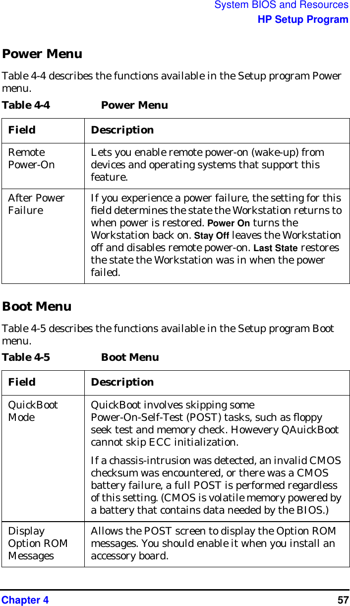 HP Workstation X4000 Technical Reference Manual Windows And