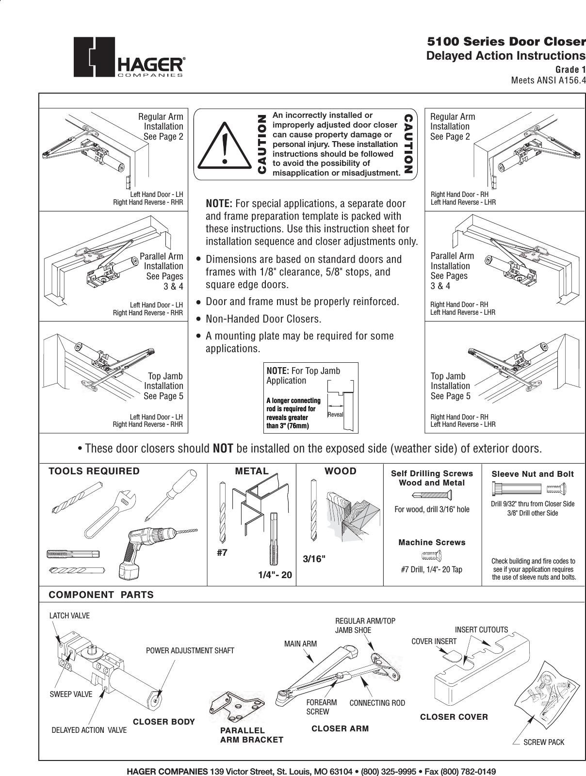 Hager 5100 Delay Install Pgs 06 18 07 5100 Series Door Manual Guide