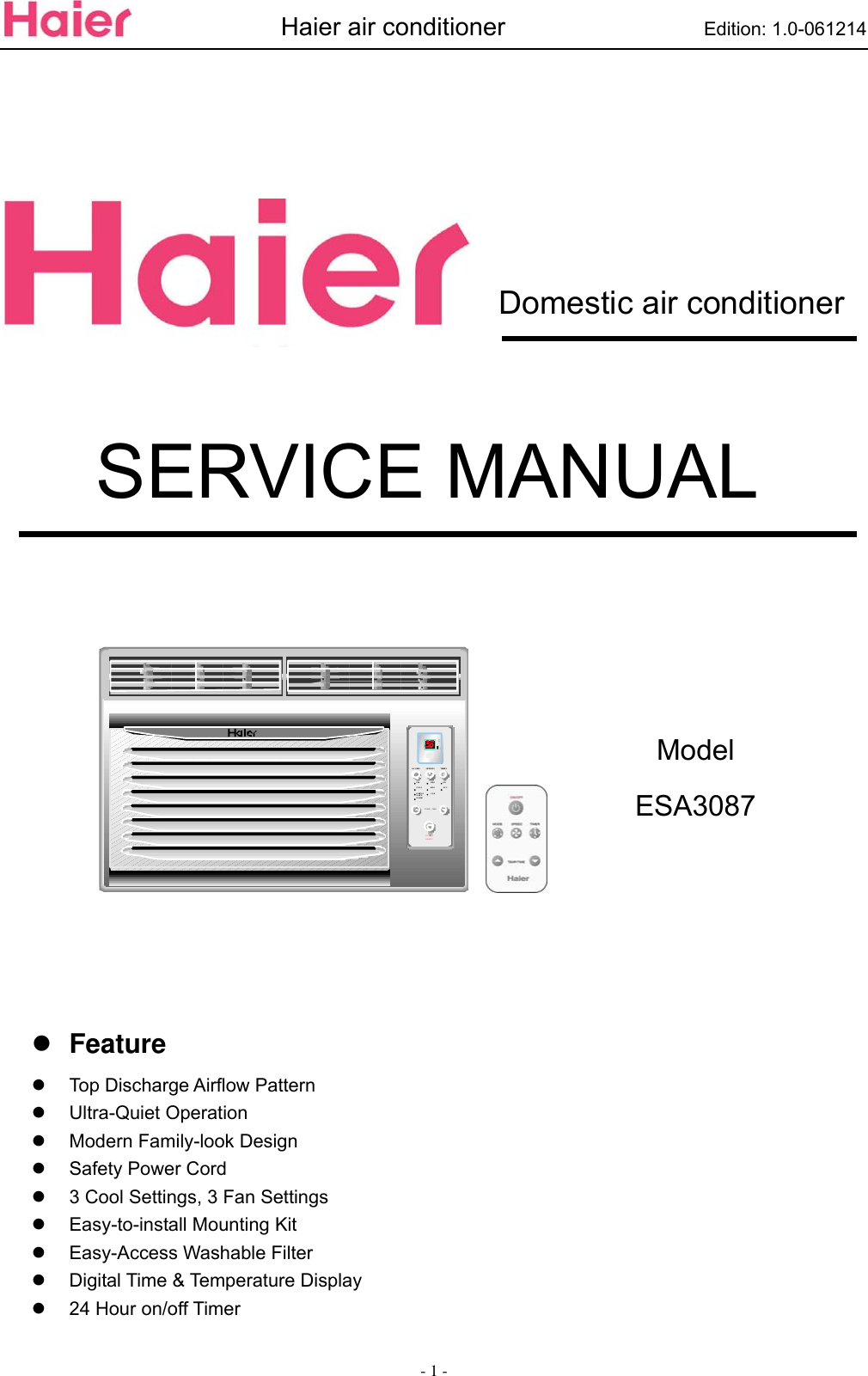 Haier Air Conditioner Esa3087 Users Manual ESA3067 SM_06 11 30_ on haier appliance wiring diagrams, haier heat pump wiring diagrams, haier refrigerator wiring diagram,