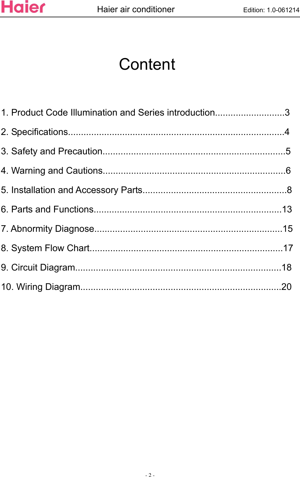 Haier Air Conditioner Esa3087 Users Manual ESA3067 SM_06 11 30_ on