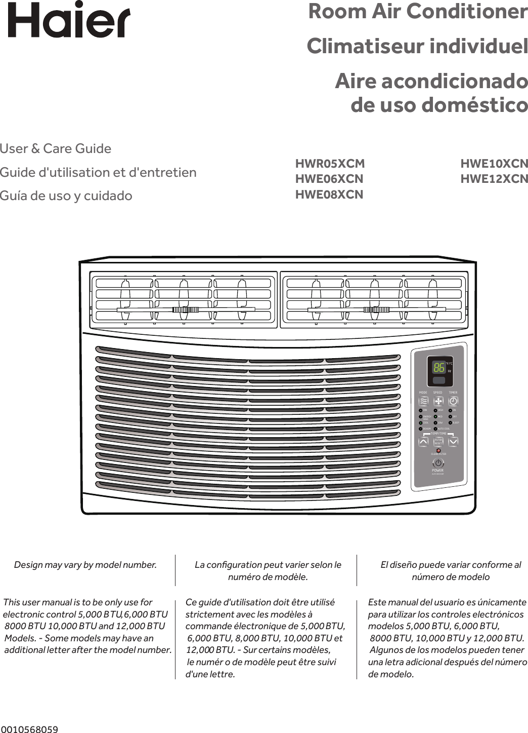 Haier Air Conditioner Hwe06Xcn Users Manual on