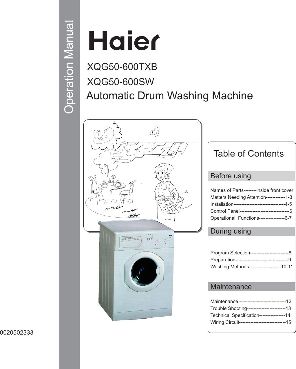 Haier XQG50 600TXB        1 User Manual To The 029890ee 4402