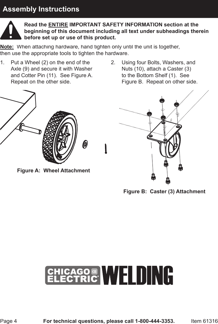 Harbor Freight 100 Lb Capacity Welding Cart Product Manual Diagram Page 4 Of 8