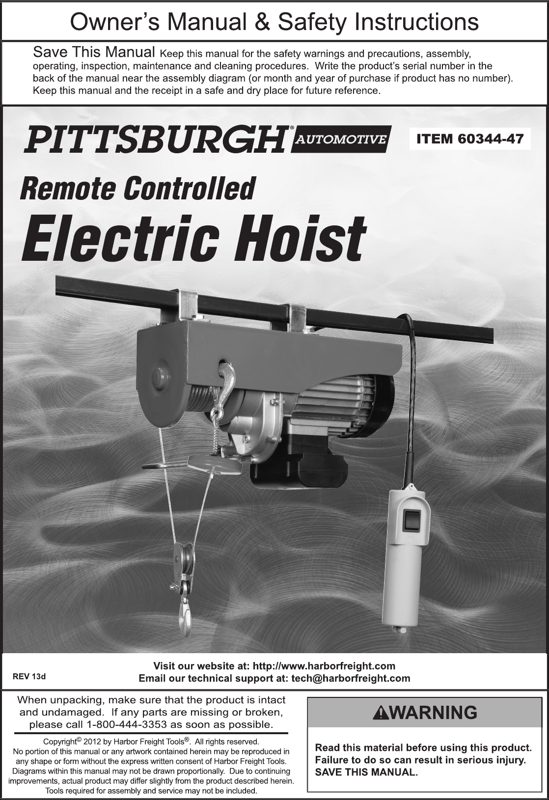HarborFreight1100LbElectricHoistWithRemoteControlProductManual723650.965280962 User Guide Page 1 harbor freight 1100 lb electric hoist with remote control product manual