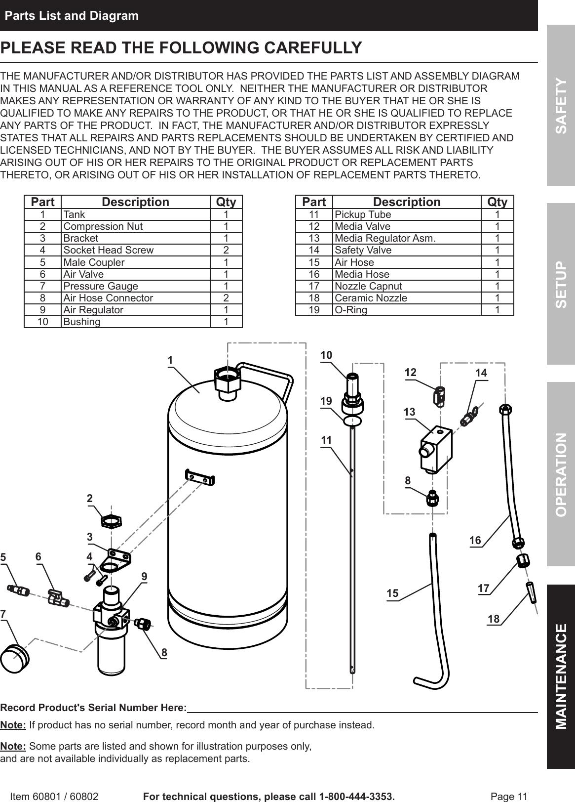 Harbor Freight 15 Lb Portable Soda Blaster Product Manual