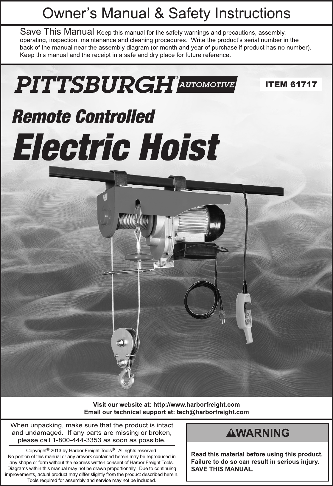 HarborFreight2000LbElectricHoistWithRemoteControlProductManual723643.1754078837 User Guide Page 1 harbor freight 2000 lb electric hoist with remote control product manual