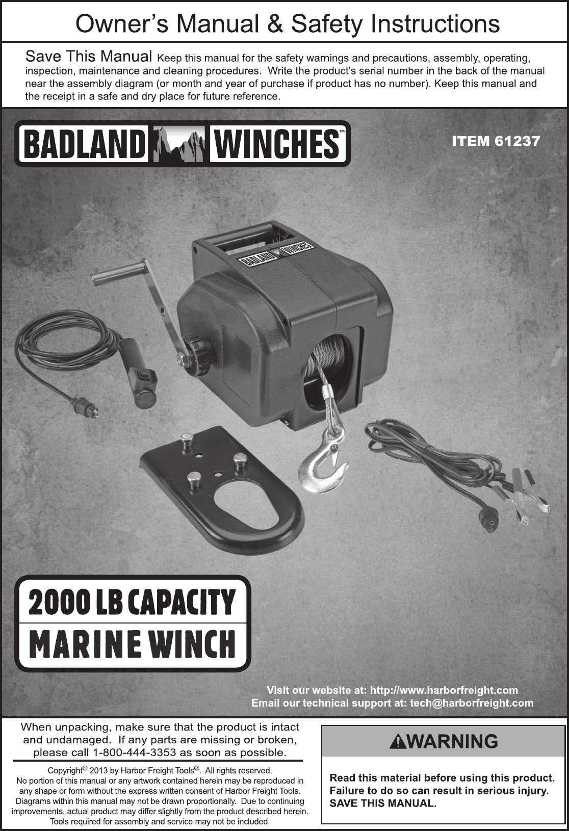 Harbor Freight 2000 Lb Marine Electric Winch Product Manual Wiring Schematic Diagram Guide