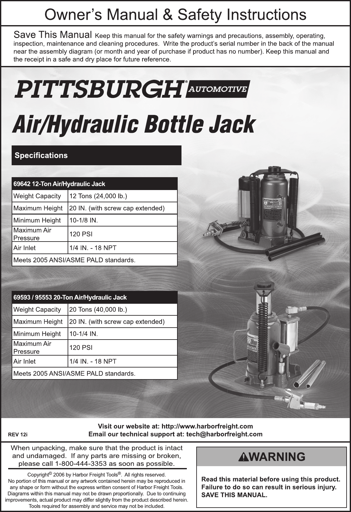 Harbor Freight 20 Ton Air Hydraulic Bottle Jack Product Manual