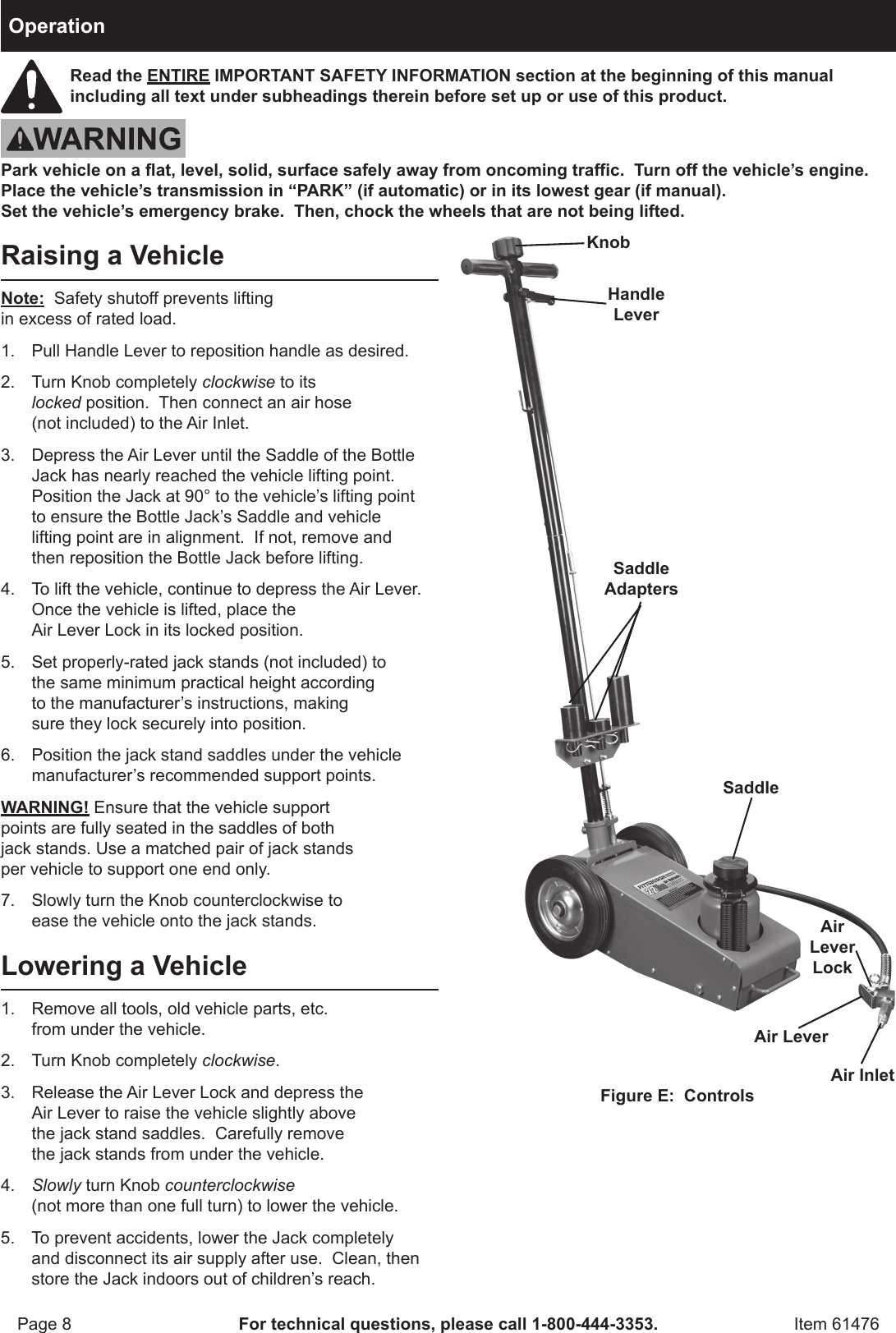 Harbor Freight 22 Ton Air Hydraulic Floor Jack Product Manual Parts Diagram Page 8 Of 12