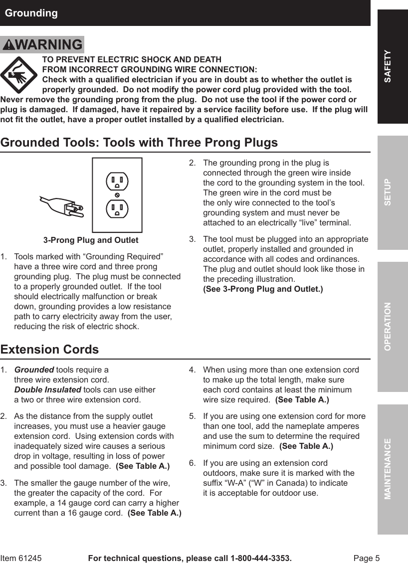 Harbor Freight 2 5 Cfm Vacuum Pump Product Manual White Green Black 3 Prong Plug Wiring Diagram Page Of 12