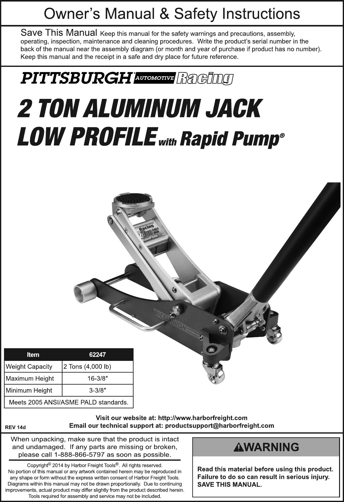 Harbor Freight 2 Ton Aluminum Racing Floor Jack With Rapid ...